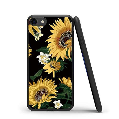 Yoedge Cover iPhone 7, Antiurto Custodia Nero Silicone TPU con Disegni Pattern Ultra Slim Protective Bumper Case per Apple iPhone 7 / iPhone 8 / iPhone 9 / iPhone SE 2020 Smartphone, Girasole