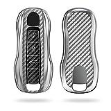 kwmobile Funda Compatible con Porsche - Carcasa para Llave del Coche Porsche Llave de Coche de 3 Botones (Solo Keyless) - diseño Carbono