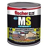 fischer – polímero líquido impermeabilizante MS Líquido (envase 4 kg) gris, a base de MS, aplicable en superficies verticales y horizontales, resistente al agua y a la intemperie