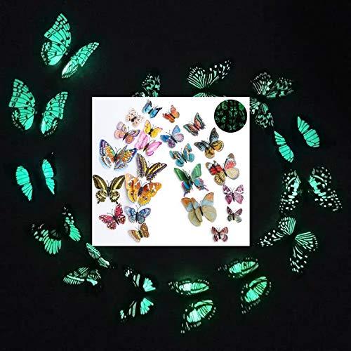WandSticker4U®- 24er hochwertige 3D SCHMETTERLINGE nachtleuchtend, Doppelflügel & Magnet I Butterfly Deko für Wohn-& Schlafzimmer Kinderzimmer Küche Wand Möbel Kühlschrank (leuchtend)