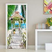 ZWYCEX ドアステッカー 現代シーサイド景観ドアステッカー3Dステレオウッドブリッジ写真・ウォールミューラルベッドルームリビングルームビニールの壁紙3 Dホームデコレーション (Dimensions : 95cm x 215cm)