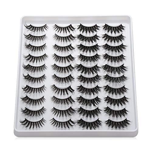 20 Pairs 3D Mink Eyelashes Handmade Makeup Mixed Styles Mink Lashes Natural False Eyelashes Long Eyelashes Extension Faux Lashes(202)