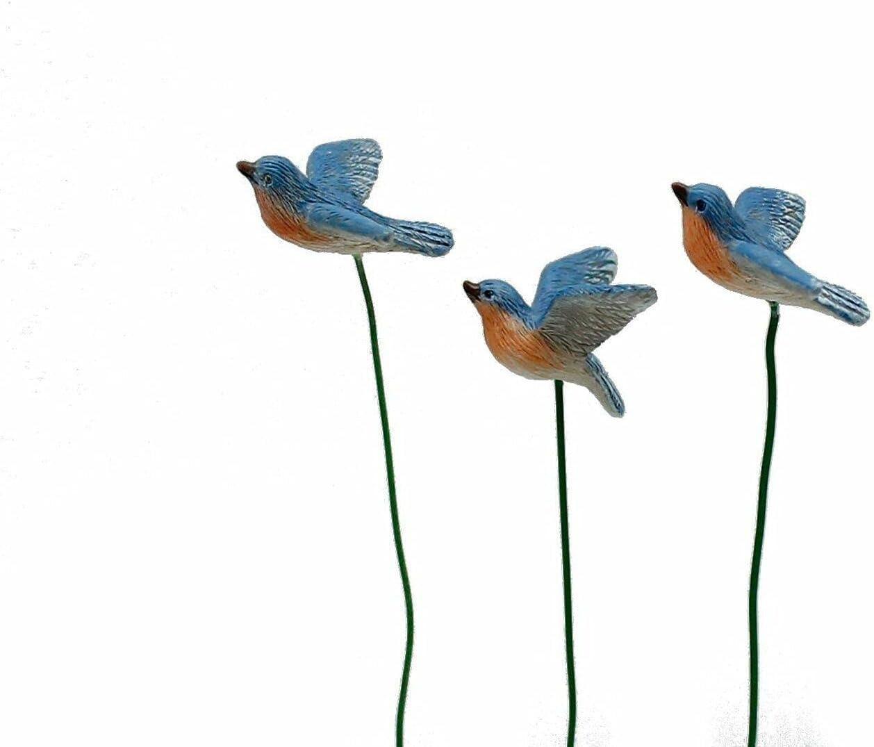 Quantity limited Miniature Dollhouse Fairy Garden Regular store Set of Bird Picks Buy 3 Blue -