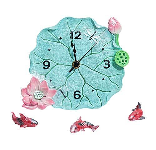 ZYLE Reloj de péndulo de Escritorio de Lotus Pond, Decoración del hogar, Reloj de Mesa silencioso de Resina, Reloj de Escritorio pequeño, artesanías de Pescado, 19x16x9 cm