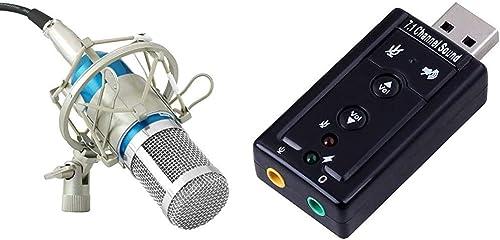 Powerpak Bm 800 Blue Professional Condenser Microphone with Metal Shock Mount + Powerpak 7.1 Channel USB External Sou...