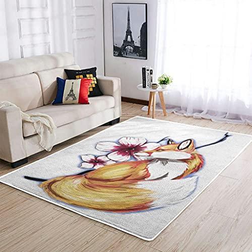 Tobgreatey Area Rugs Alfombra japonesa Kitsune zorro, duradera, para cocina, color blanco, 91 x 152 cm
