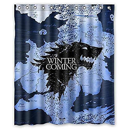 vgfjjuhn Cortina de Ducha de Invierno de Lobo de Juego de Tronos Personalizado único y novedoso caliente-180X200cm