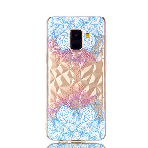 COZY HUT Samsung Galaxy A6 2018 handyhülle, Ultra Dünn Schutzhülle Samsung Galaxy A6 2018 Bumper Case Soft TPU Case Anti Rutsch Silikon Hülle für Samsung Galaxy A6 2018 - Blaue Blätter