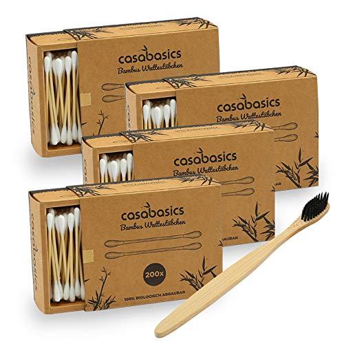 800 Stück Bambus Wattestäbchen ohne Plastik + Bambus Zahnbürste gratis | 100% biologisch abbaubar, vegan & nachhaltig | kompostierbare premium Ohrenstäbchen