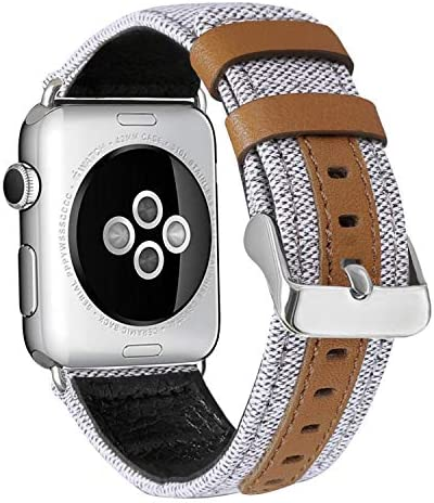 ALADRS Canvas Watch Straps Compatible with Fabric Apple Watch Band 40mm 38mm Leather Wristbands product image