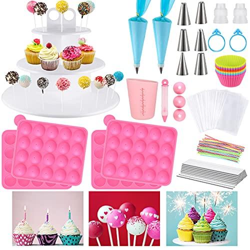 332 Pieces Lollipop Cake Pop Maker Set 20 Holes Silicone Lollipop Mold, Twist Tie, Piping Bag, Lollipop Paper Stick, 3 Tier Lollipop Stand, Silicone Baking Wrapper, Cake Decorating Kit for Candy
