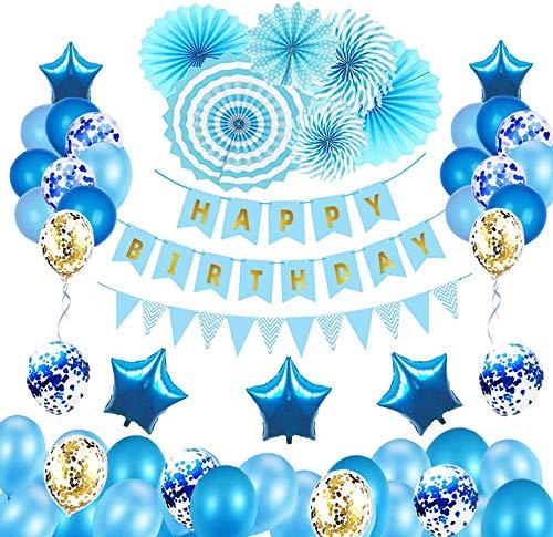 Bellatoi Blue Birthday Decoration Globos Juego de decoración de cumpleaños con pancarta de feliz cumpleaños, banderines, globo de látex, globos de lámina de estrella y abanico de pape
