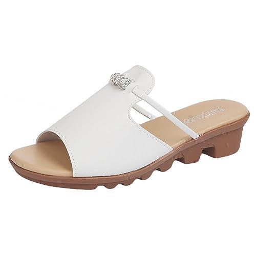 63cc66fb73 Lolittas Sandals Summer Diamante Wedge Sandals for Women Ladies, Sparkly  Glitter Jewelled Leather Low Heel