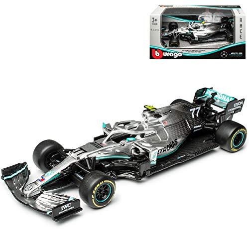 Mercedes-Benz AMG W10 EQ Power Valtteri Bottas Nr 77 Formel 1 2019 1/43 Bburago Modell Auto mit individiuellem Wunschkennzeichen