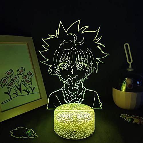 Lámpara de noche 3D Anime Killua Zoldyck, lámpara Hunter X Hunter 3D LED Night Light for Kids Bedroom Decor Killua Zoldyck Birthday Gift Manga Toy Lámpara de mesa 7 Color Touch Luoxia