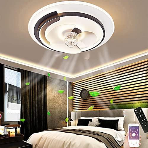 Lámpara de Techo LED con Ventilador Ventilador de Techo con Mando a Distancia Fan Silencioso con Lámpara, Ventilador de Techo Regulable con Luz, 3 velocidades de viento, Ø50CM
