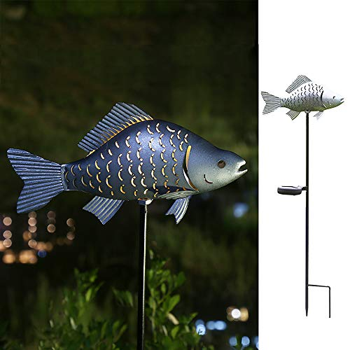 Solar Garden Lights Metal Fish Decorative Stake for Outdoor Patio Yard Decorations,Warm White LED Solar Path Lights (Silver-1)