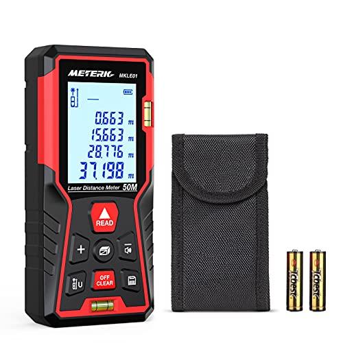 Laser Distance Meter 50M/165ft, Meterk Portable Laser Measure Range Finder...