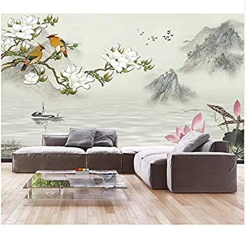 HD Nueva pintura de paisaje chino Magnolia Flor y figura de pájaro Fondo de pared Papel tapiz 3D Pared Pintado Papel tapiz 3D Decoración dormitorio Fotomural sala sofá pared mural-250cm×170cm