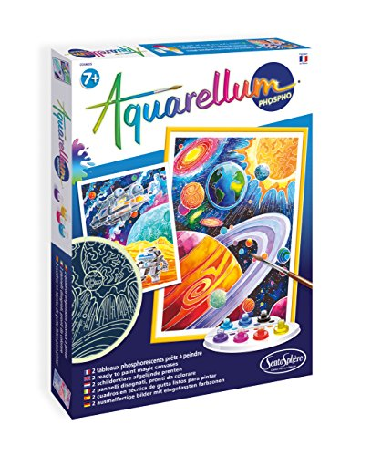 SentoSphere Aquarellum - Planets Glow in the Dark - Arts and Crafts Watercolor Paint Set
