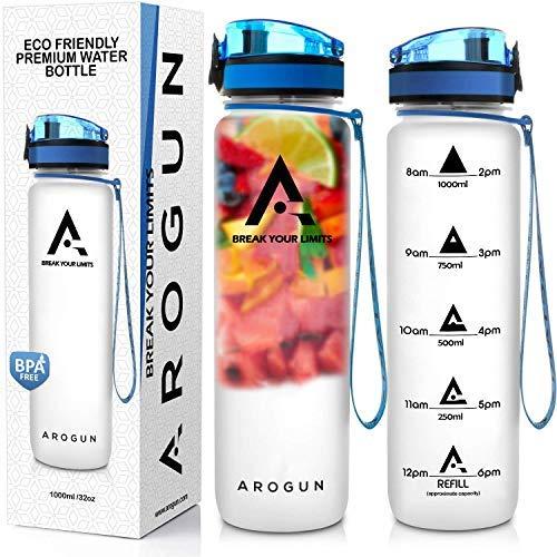 Arogun 1 Liter Trinkflasche mit Zeitmarkierung I Auslaufsicher I BPA Frei I Wasserflasche mit Fruchtfilter und deutschsprachige Motivation I Für Sport, Fitness, Outdoor, Büro