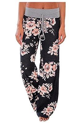Aifer Women's Comfy Casual Pajama Pants Floral Print Lounge Drawstring Palazzo Long Wide Leg Pants Black by