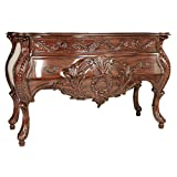 Design Toscano Le Piccard Bombe Console Table with Drawers, 58 Inch, Walnut