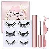 Magnetic Eyelash with Eyeliner, 3D Reusable Magnetic Eyelashes and Magnetic Eyeliner Kit, Magnetic Eyelashes Make Your Eyes Dazzle, No Glue Magnetic Eyelashes Set