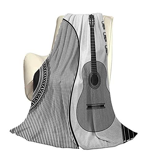 Guitarra Mullida Felpa Suave y cómoda Manta cálida Diseño monocromático Instrumentos clásicos...