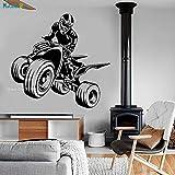 Quad Bike Vinyle Sticker Sport ATV Garage Man Cave Décor Autocollants Art Mural Autocollant Maison Salon Chambre Chambre YT XL 88x84 cm