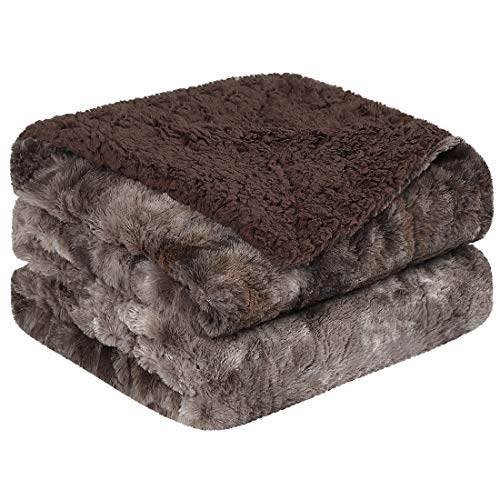 PiccoCasa Shaggy Faux Fur Blanket Twin Size - Soft Warm Reversible Tie-dye Sherpa Throw Blanket for Sofa, Couch and Bed - Plush Fluffy Fleece Blankets as Gifts 60 x 80 Inch Brown