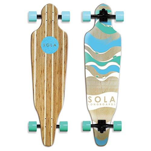 Sola Bamboo Premium Graphic Design Complete Longboard Skateboard  36 to 38 inch Wave