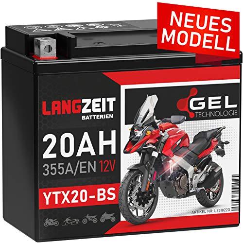 LANGZEIT YTX20-BS GEL Motorradbatterie 12V 20Ah 355A/EN GEL Batterie 12V 51822 CTX20-BS GTX20-BS doppelte Lebensdauer vorgeladen auslaufsicher wartungsfrei