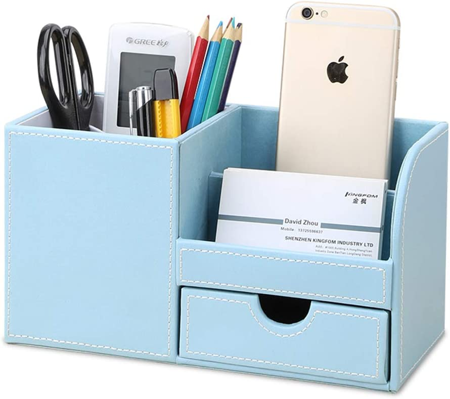 KINGFOM Wooden Struction Leather Multi-function Desk Stationery Organizer Storage Box Pen/Pencil,Cell phone, Business Name Cards Remote Control Holder with Small Drawer Blue