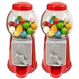 ArtCreativity Gumball Machine Bank for Kids, Set of 2, 5.25 Inch Desktop Bubble Gum Mini Candy Dispenser, Unique Money Saving Coin Bank, Best Gift or Vintage Office Desk Decoration- Gumballs Included