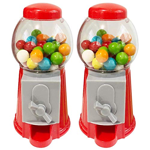 ArtCreativity Gumball Machine Bank for Kids, Set of 2, 5.25 Inch Desktop Bubble Gum Mini Candy Dispenser, Unique Money Saving Coin Bank, Best Gift or Vintage Office Desk Decoration- Gumballs Included