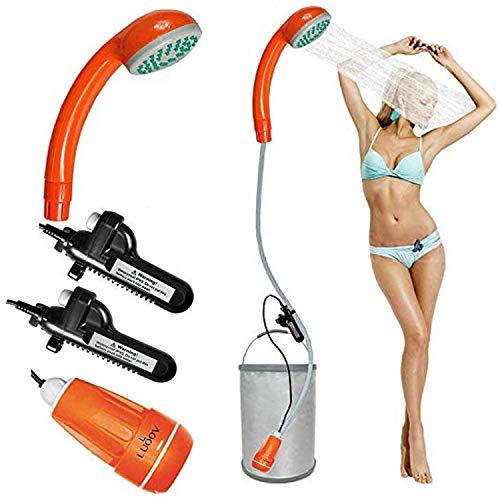 Zooma Tragbare Duschen Camping Dusche, Campingdusche mit Tauchpumpe, Tragbar Outdoor Dusche Wasserpumpe für Camping (Einheitsgröße, Orange 3 (2 Batterien))
