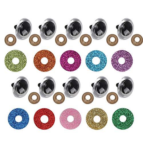 Ichiias Plástico con Ojos de Seguridad de arandela de Purpurina, Ojos de muñeca, Ojos de Juguete de Felpa, para muñecos de Ganchillo(18mm)