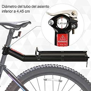 HOMCOM Portaequipajes Posterior para Bicicleta Estante Soporte de Equipajes con Protecciones Laterales Carga 9 kg Aluminio 49x12x14 cm Negro