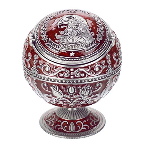 Vintage Windproof Ashtray with Lid for Cigarette Metal Portable Cigar Ashtray Odor Eliminator Outdoor Indoor, Hand Stamped Rose Eagle Pattern with Sparkle Fancy Gift for Men Women (Dark Red-Pewter)