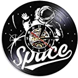 CCGGG Reloj de Pared Astronauta Record Space Sala de Estar Art Space Set fonógrafo Record Vintage decoración del hogar Espacio Regalo