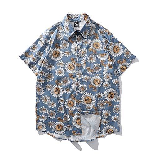 Beastle Camisa para Hombre Estilo Festivo Hawaiano Estampado de crisantemo Estampado Slim Fit Camisa Europea y Americana de Talla Grande X-Large