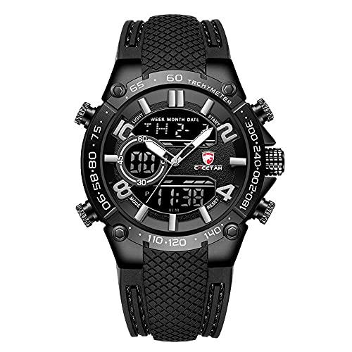 Hombres Relojes Military Sport Watches Mens Top Luxury Brand Mascule Reloj Dual Pantalla de Pulsera Reloj Aparcamiento al Aire Libre Reloj a Prueba de Agua(Gris)