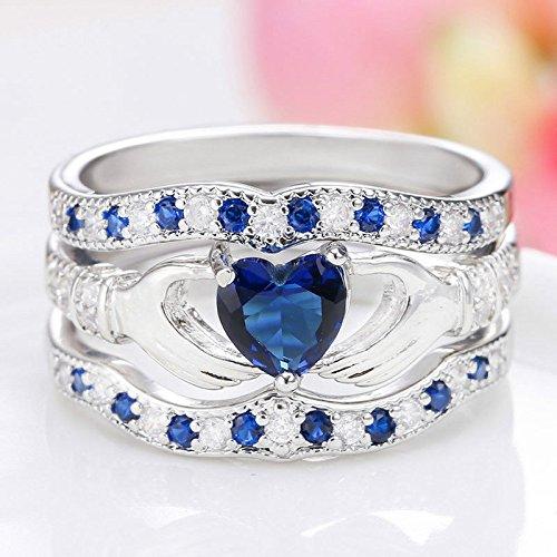 lertchai 3Pcs Irish Claddagh Celtic Heart Sapphire 925 Silver Ring Wedding Bridal Set New (7)