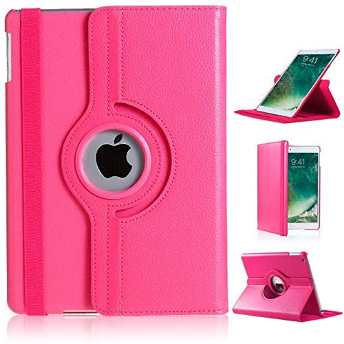 "New iPad 9.7 2017 Case, iPad 9.7 2018 Case, iPad Air Case, DN-TECHNOLOGY Auto Sleep/Wake Leather Smart Folio Case-5th/6th Generation-New iPad 9.7 2017/2018 Case, iPad 9.7"" Case,(iPad 5/6 Case) (PINK)"