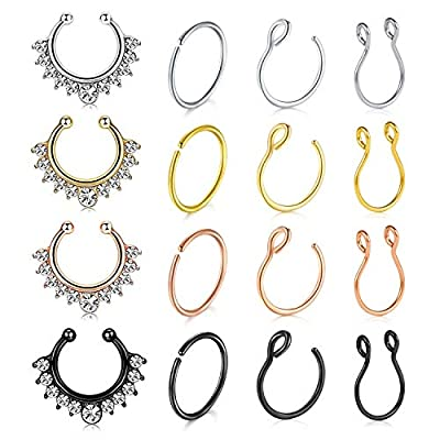vcmart Fake Nose Rings Hoop 16pcs Stainless Steel Faux Fake Lip Ear Nose Septum Ring Non-Pierced Clip On Nose Hoop Rings