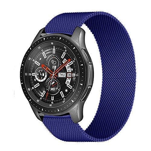 ZAALFC Correa Milanese Loop 20 mm 22 mm para Samsung Galaxy Watch 3 45 mm 46 mm Gear S3 Frontier Active 2 42 mm pulsera para Huawei GT/2/2e Band (color de la correa: azul, ancho de la correa: 20 mm)
