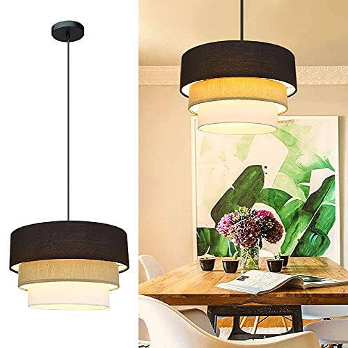 Depuley LED Hängeleuchte Höhenverstellbar Trommel, Pendelleuchte Nordic 3 Schichten, E27 Lampenfassung, Hängelampe Esszimmer, Esstischlampe Deckenlampe für Schlafzimmer Küchen Balkon Wohnzimmer