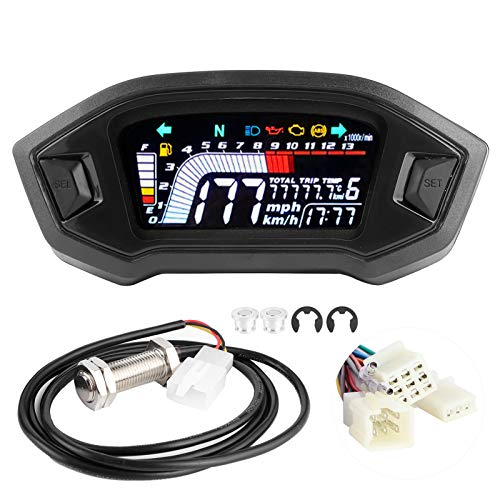 aqxreight - Black LCD Odometer Speed Gauge Fits for 1 2 4 Cylinder Motorbike,Universal Motorcycle Instrument