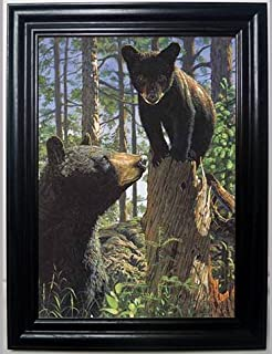 MOTHER AND CUB 3D FRAMED Wall Art----Lenticular Technology Causes The Artwork To Have Depth and Move-HOLOGRAM Style Images-HOLOGRAPHIC Optical Illusions By THOSE FLIPPING PICTURES